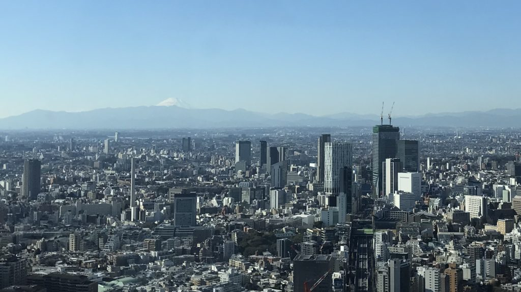富士山と渋谷の高層ビル群