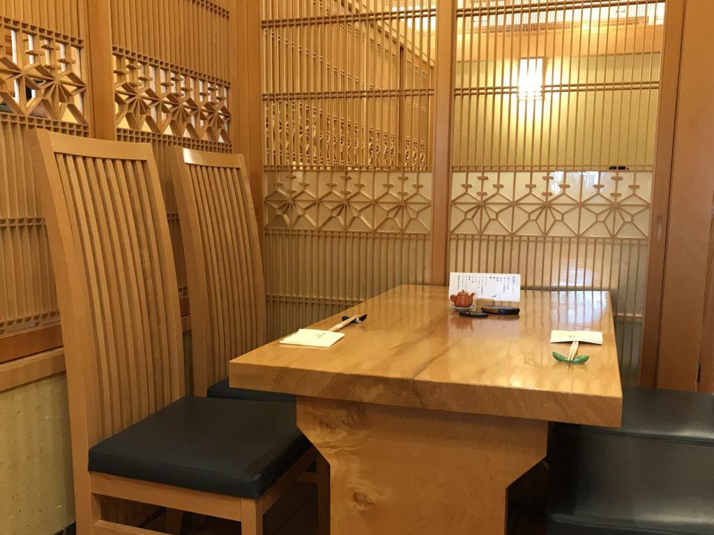 東京ミッドタウン 天ぷら山の上座席