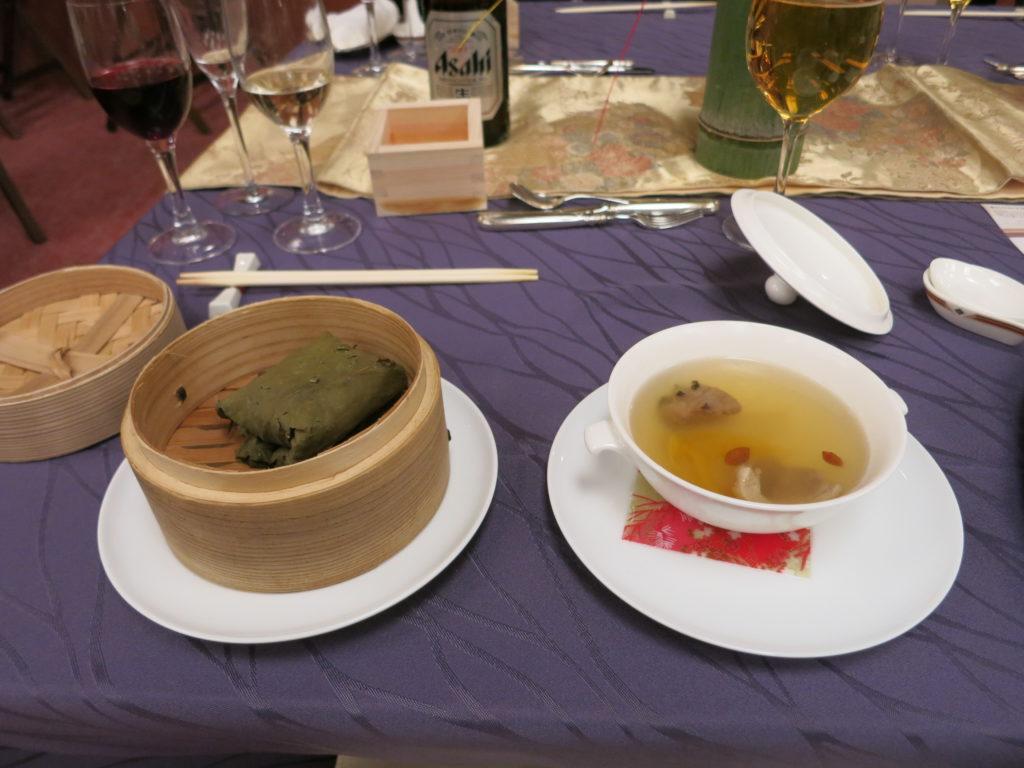 雅叙園 五穀米蓮の花包み蒸しご飯と漢方蒸しスープ
