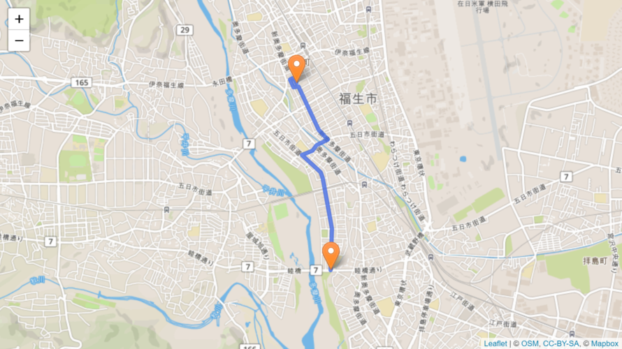 福生市 聖火リレーのルート